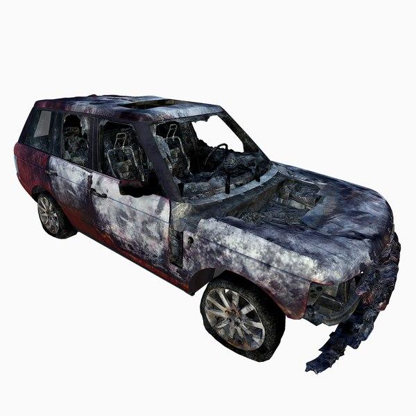 real-time burned car 3d model