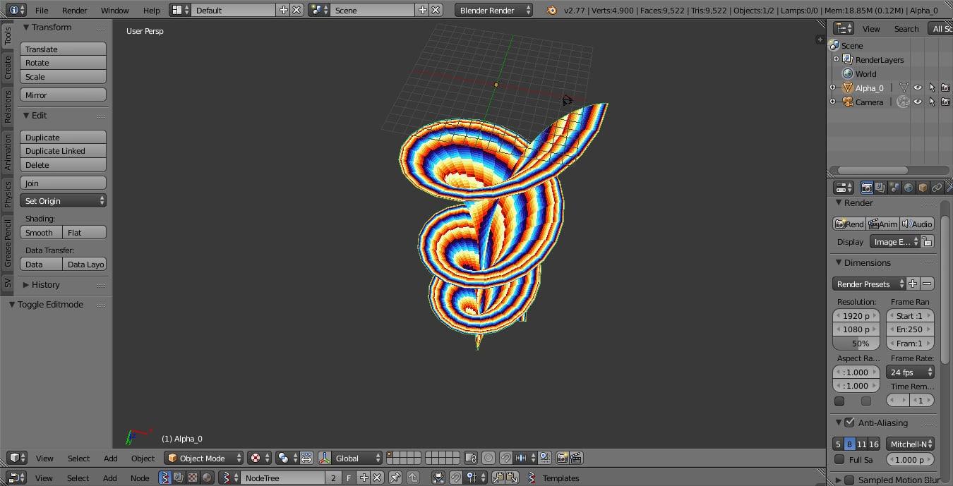 dini surface color 3d 3ds
