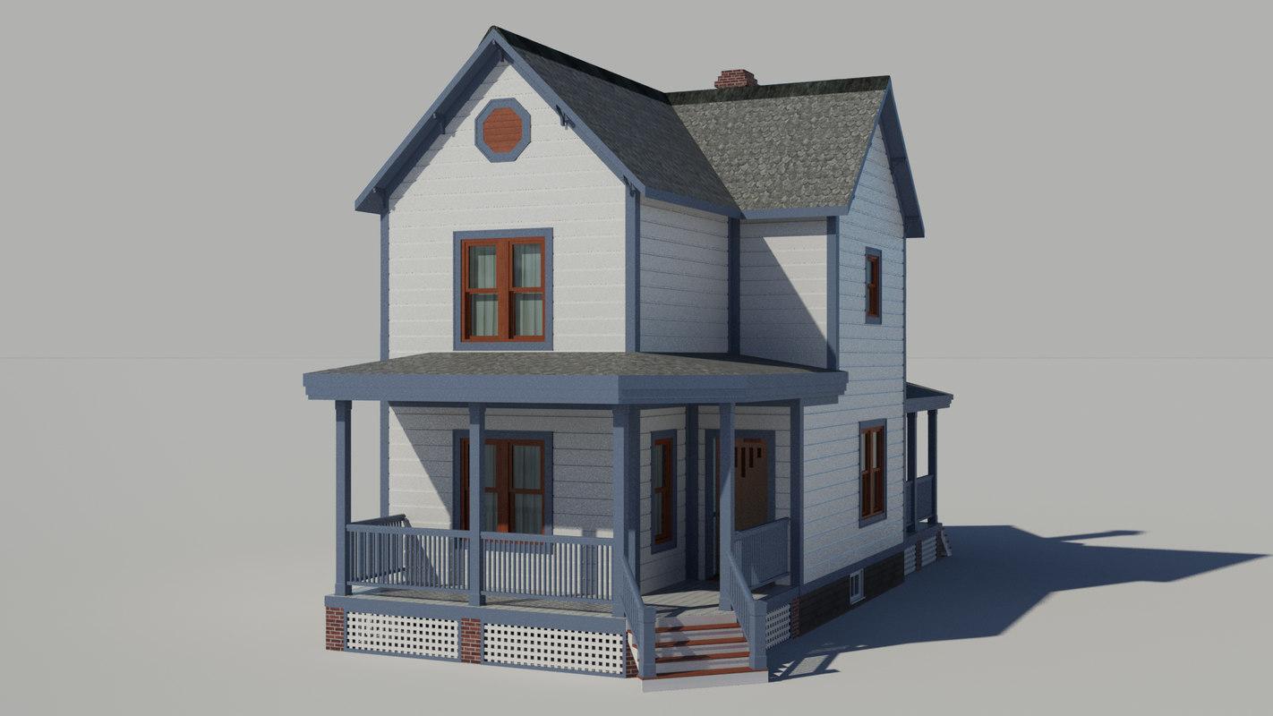 craftsman kit house 3d model