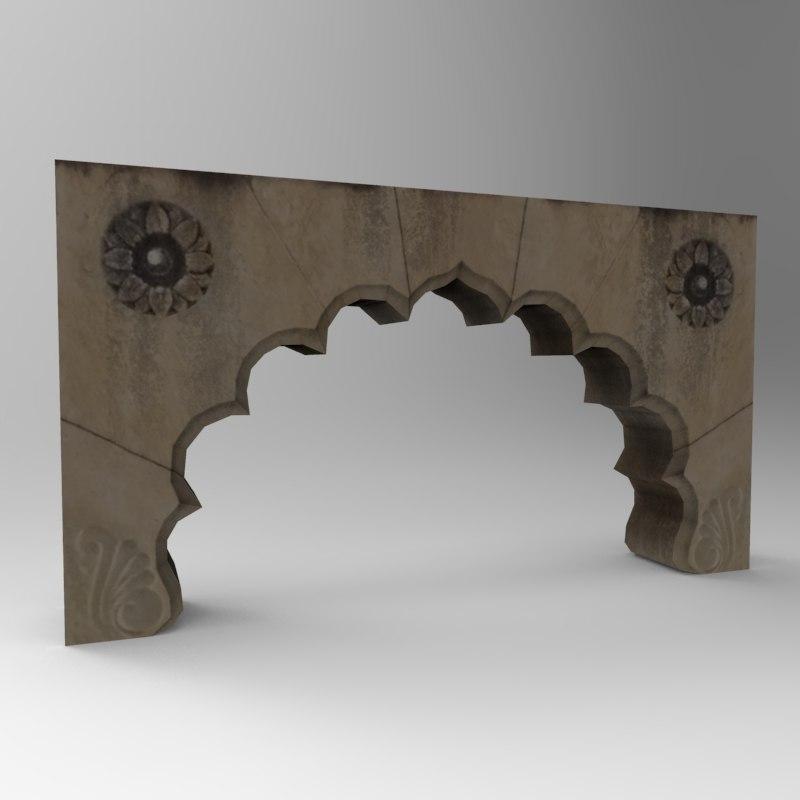3d model stone door arc 3