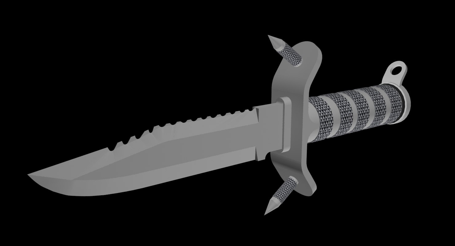 hunting knife aluminum 3d model