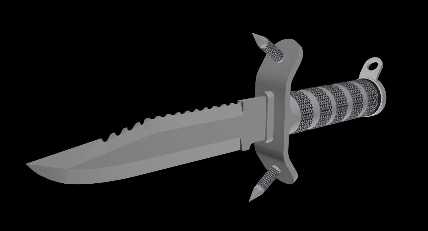 hunting knife aluminum 3d model