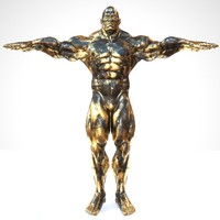3d sculpture black gold t-pose
