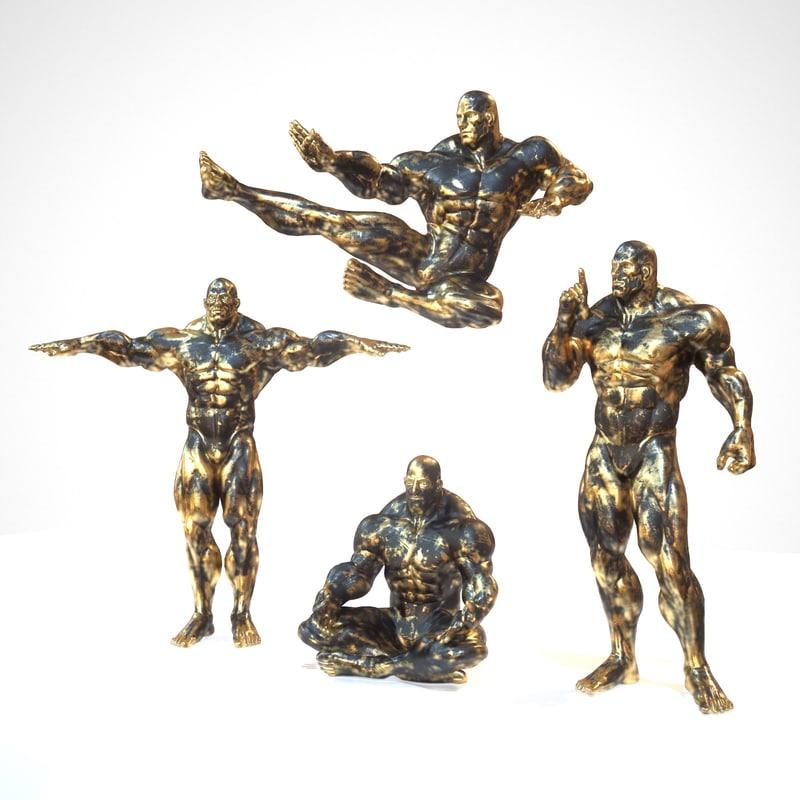 sculpture rigged black gold obj