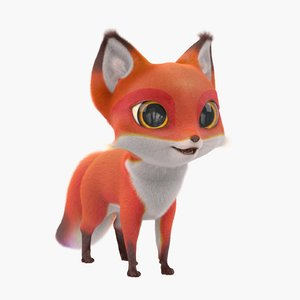 cute cartoon fox fur 3d max