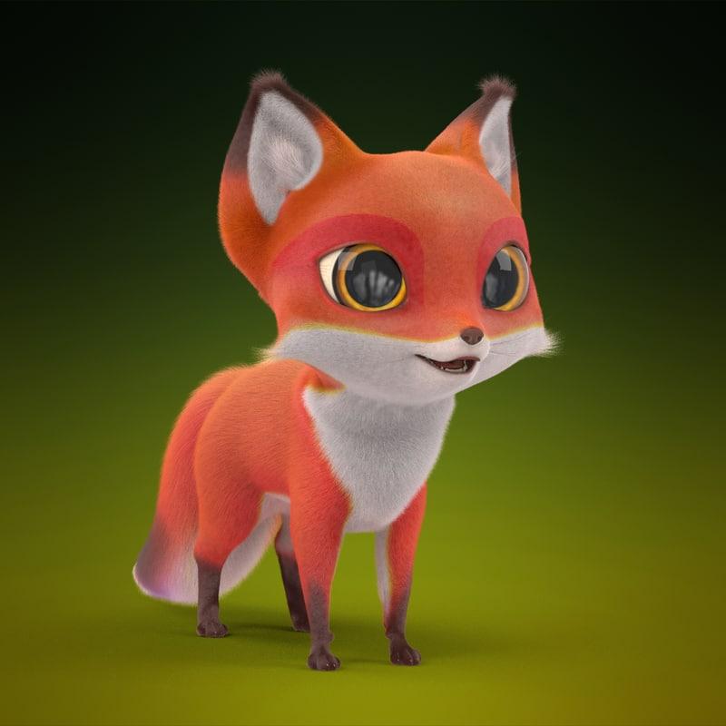 cute cartoon fox fur 3d max