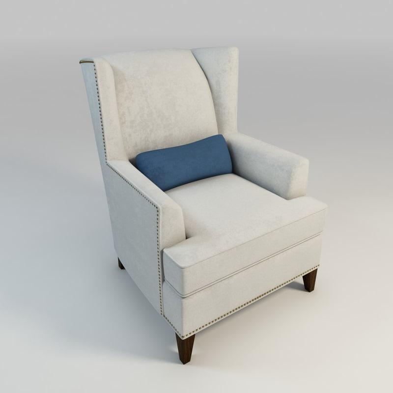 upholstered arm chair 3d model