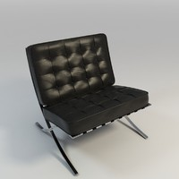 leather knoll barcalona chair 3d fbx