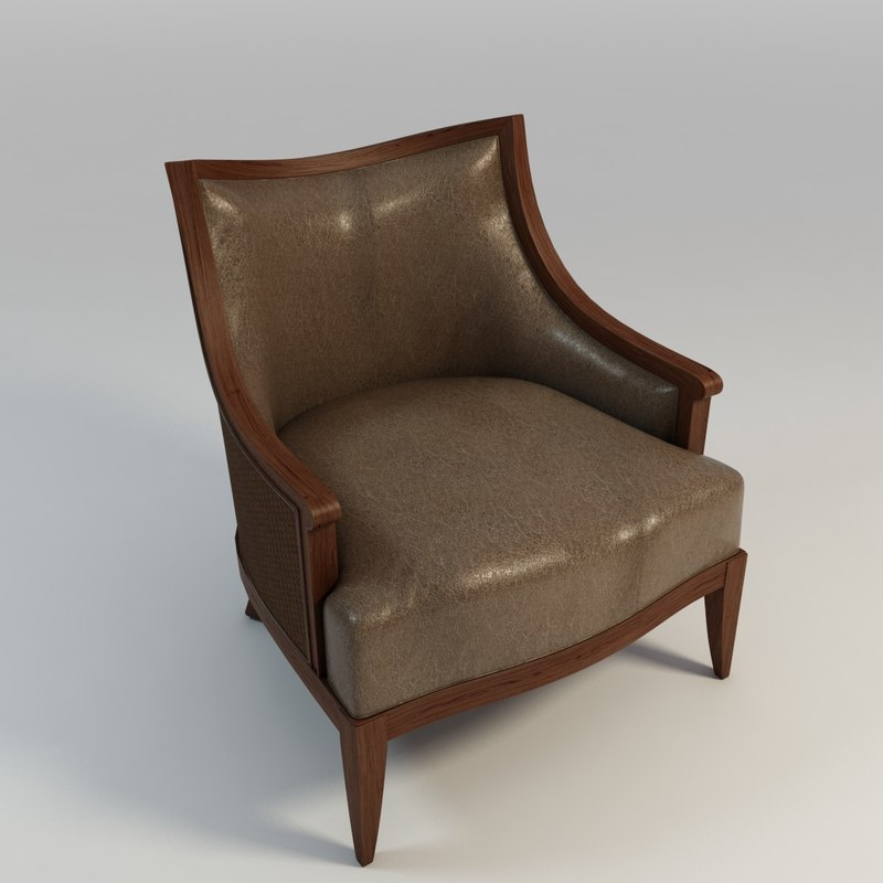 3d model wood arm chair