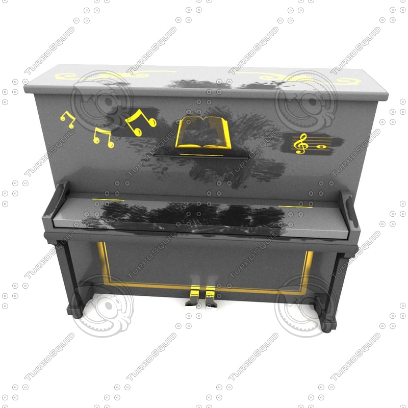 3d model old dusty piano