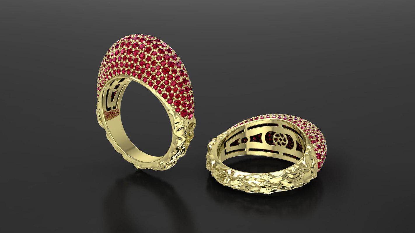 gem gold ring 3d obj