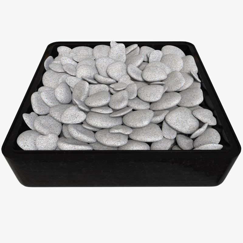 3d model pebbles rock tray