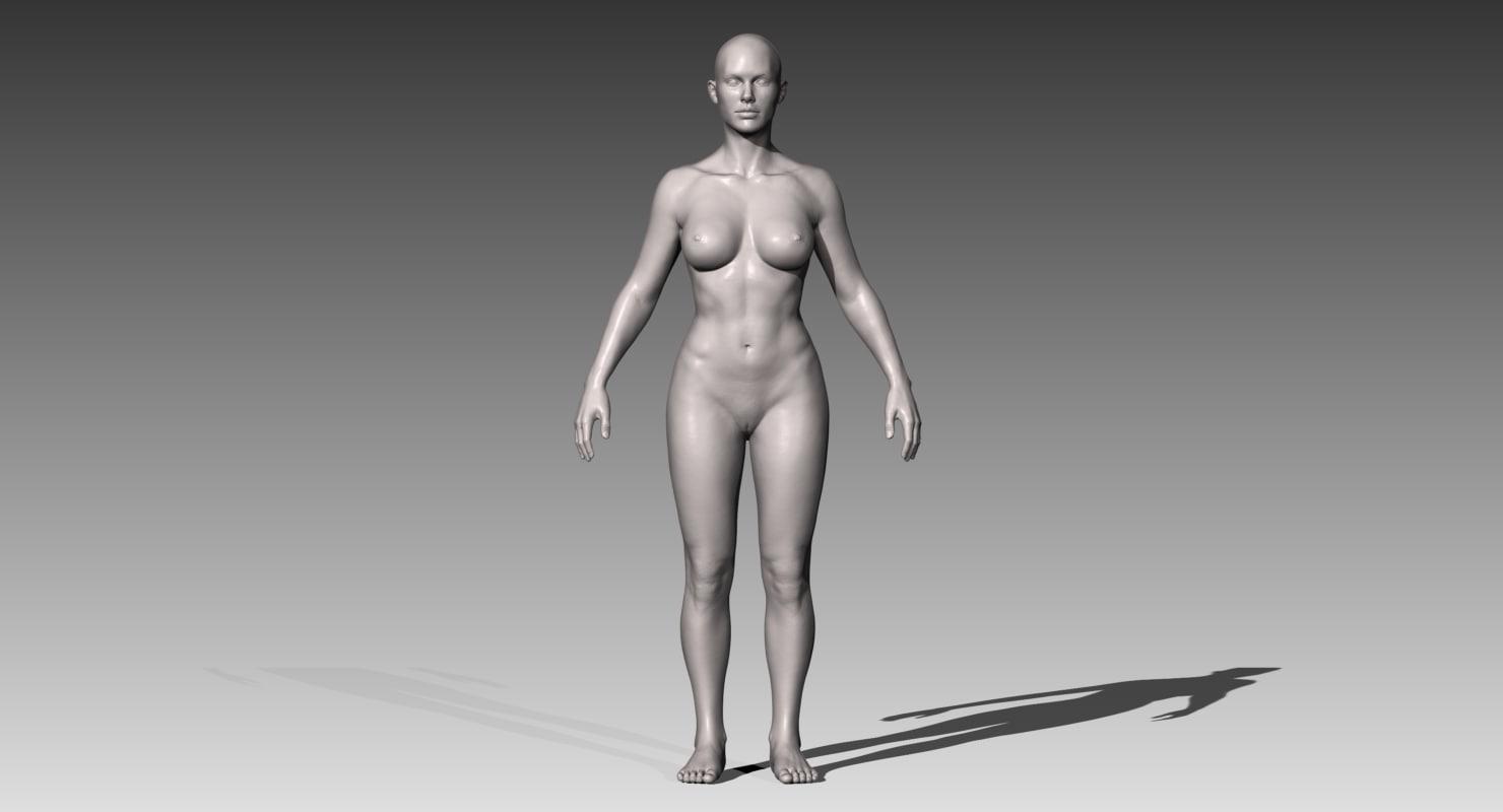 3d model realistic white female