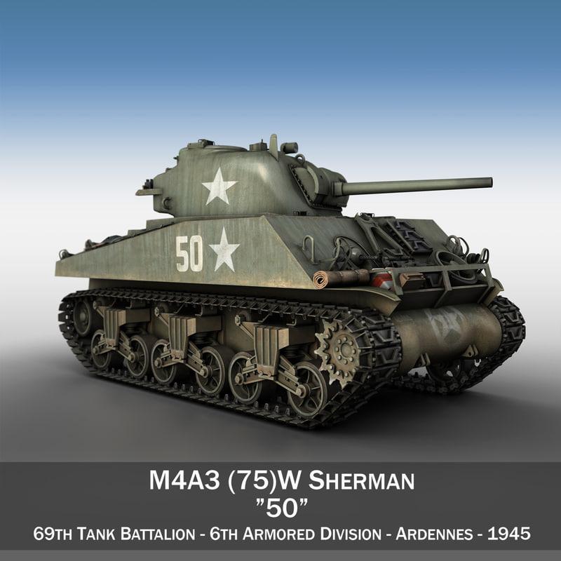 m4a3 sherman - 75mm 3d c4d