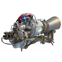 turbomeca arriel 2 turboshaft 3d model
