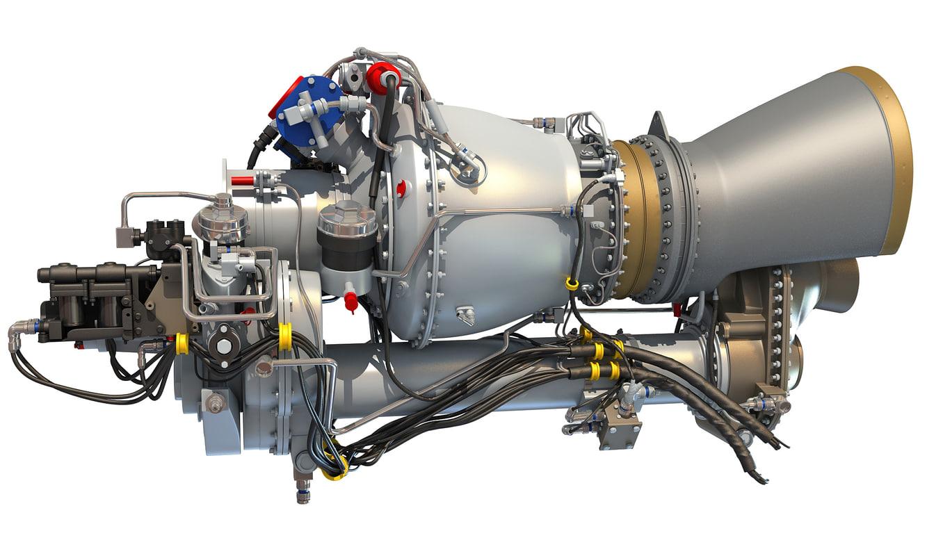 turbomeca arriel 2 turboshaft 3d model