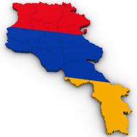 3d Political Map of Armenia