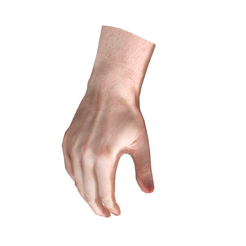 3d hand base mesh low-poly