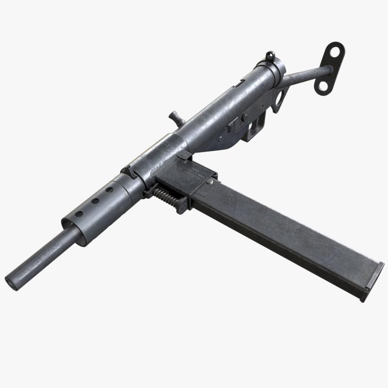 3d model sten mark ii submachine gun
