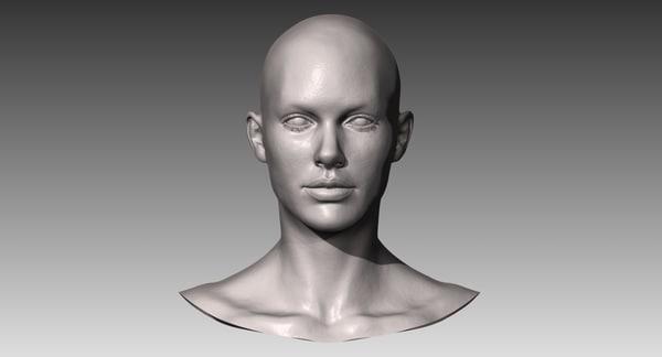 realistic white female head 3d model