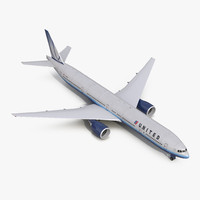 3d boeing 777-300er united airlines model