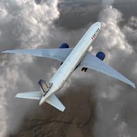 3d boeing 777-300er united airlines model