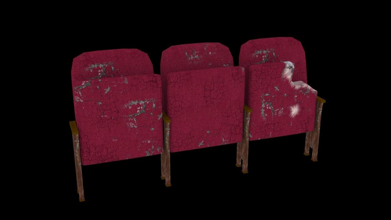 3d model old theatre seats