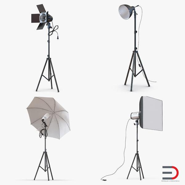 photo studio lamps light 3d model