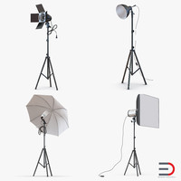 photo studio lamps light 3d model