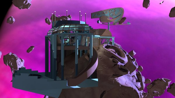 3d scifi diner space ship model