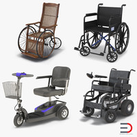 Wheelchairs Rigged 3D Models Collection