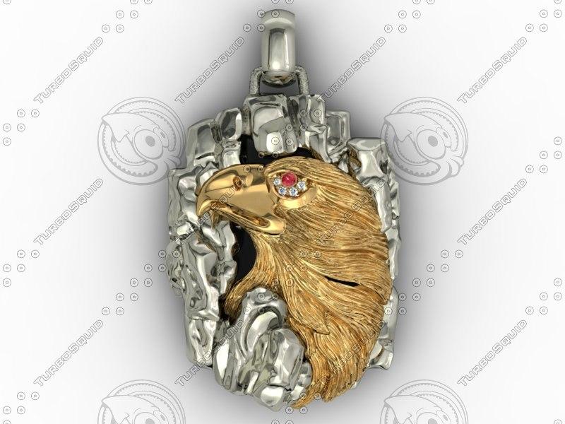 3d model necklace eagle