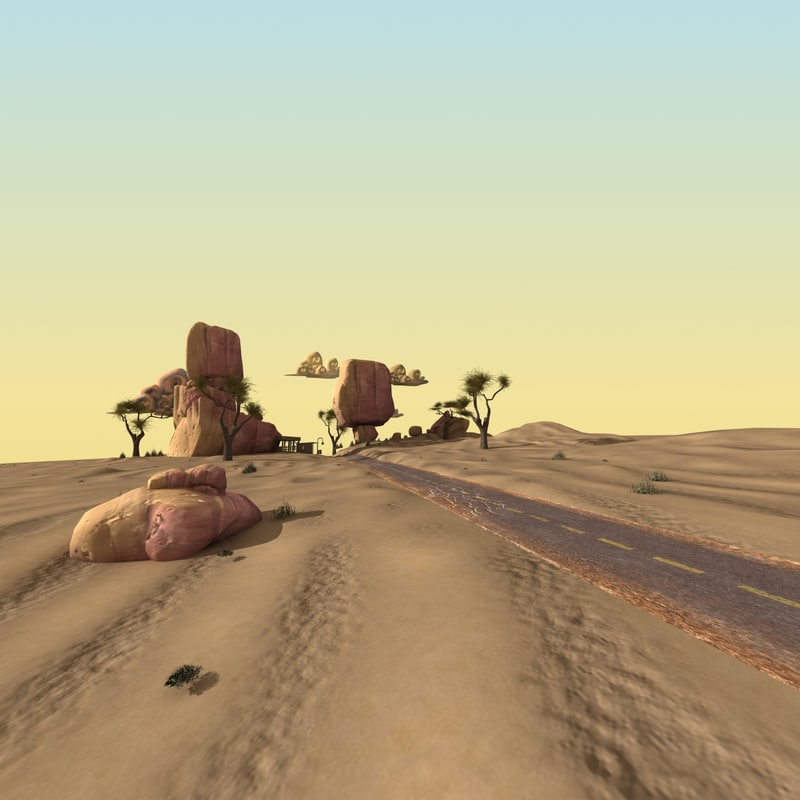 3ds desert road cartoon scene