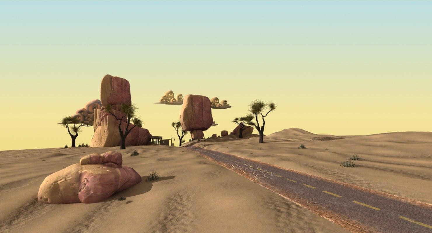 3ds desert road cartoon scene