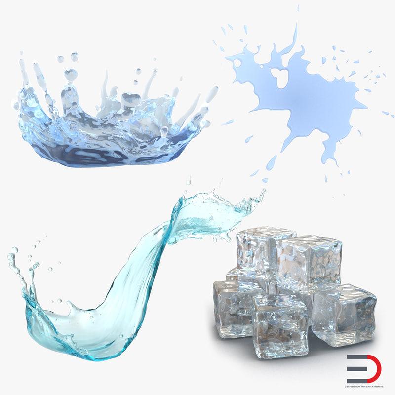 3d water ice cube liquid
