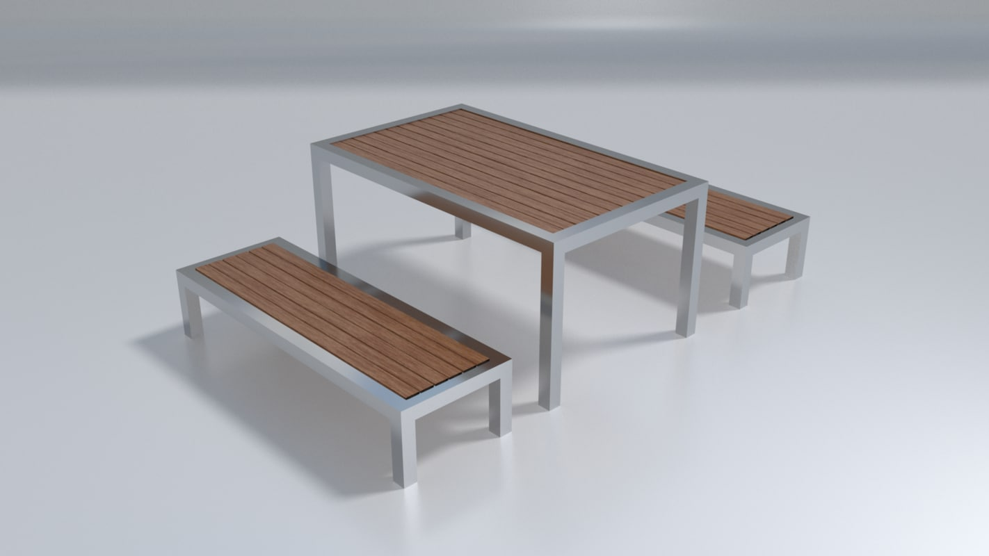 obj outdoor bench - pbr