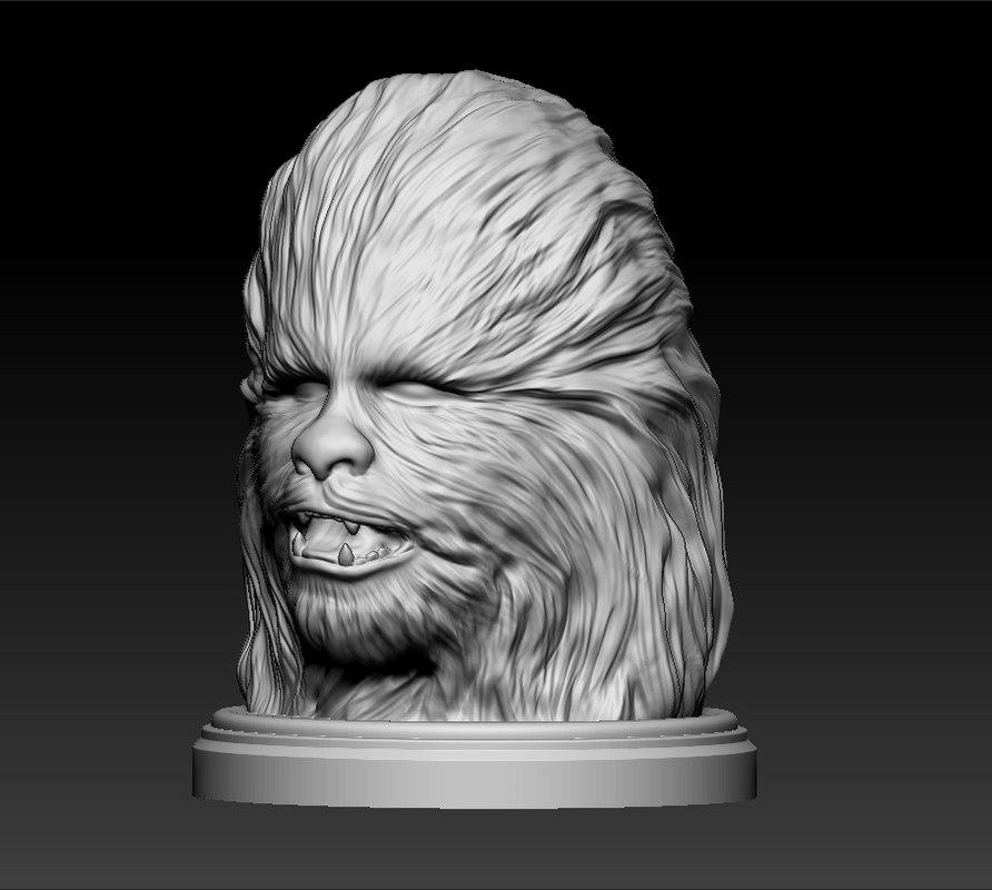 3d model head chewbacca star wars