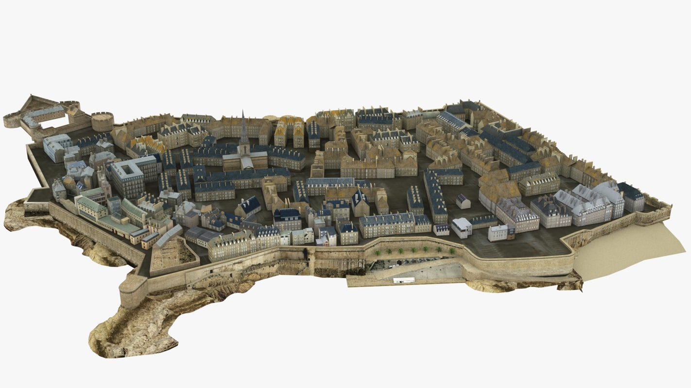 3d model central old town city