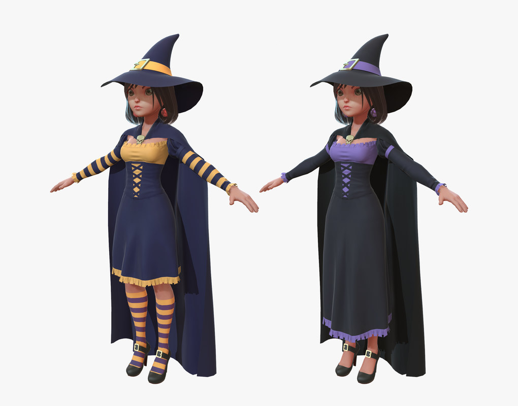 cartoon witch girl 3d obj