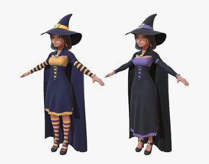 cartoon witch girl 3d obj