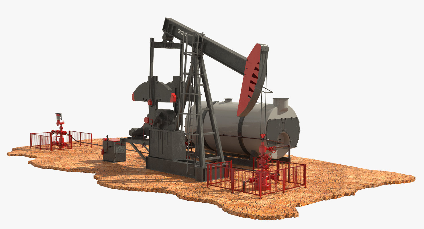 3d model of oil pumpjack