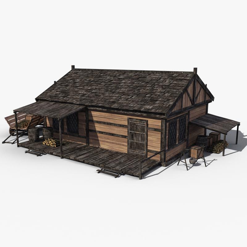 3d fbx medieval house