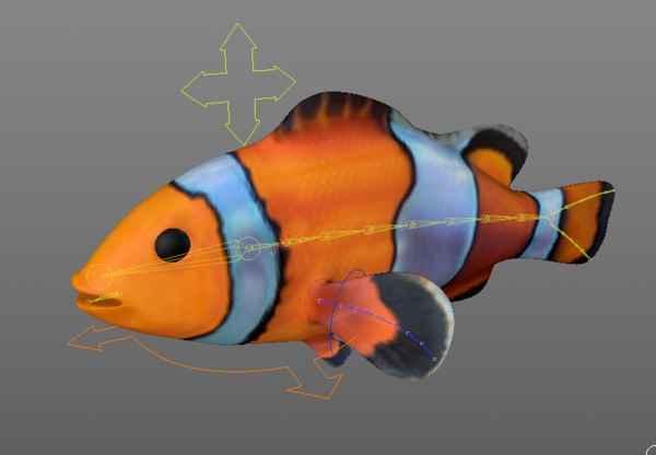 3d c4d clownfish animation