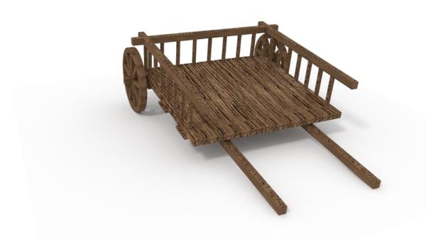 3d model medieval wood hay cart