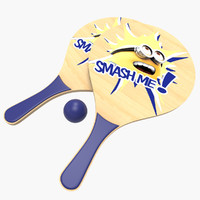3d wooden beach paddle racket model