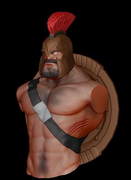 3d spartan warrior bust model