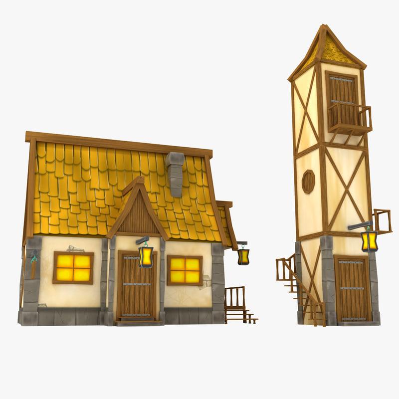3d model medieval cartoon house