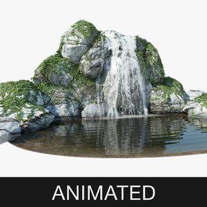 waterfall water falling 3d model