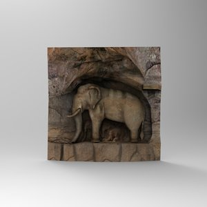 stone elephant statue 3d max