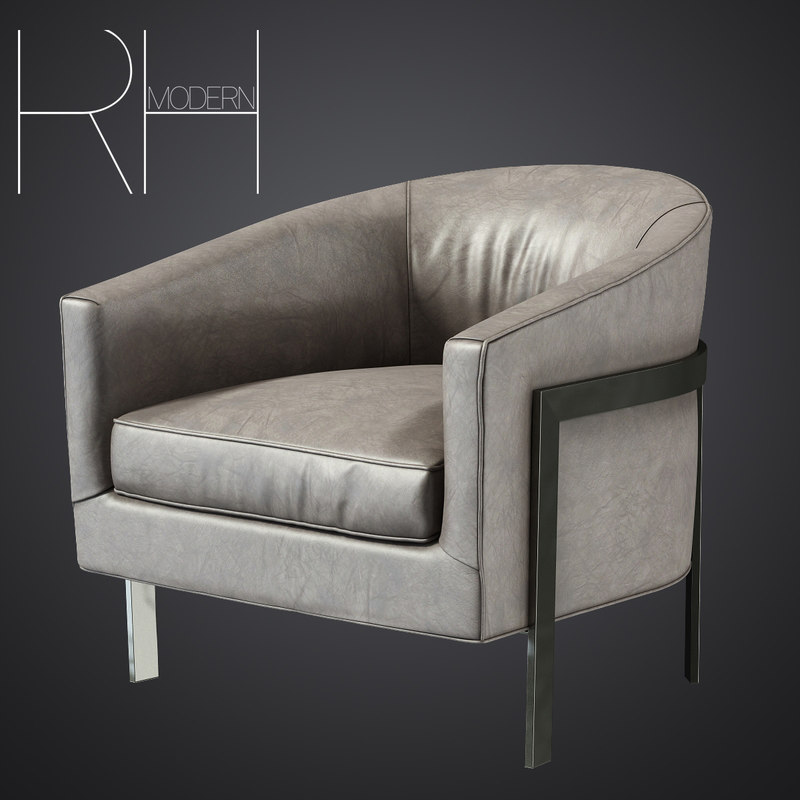 3d model of reginald leather chair